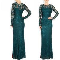 2013 Spring long-sleeve lace embroidered trailing full  slim hip formal  dinner formal  long design