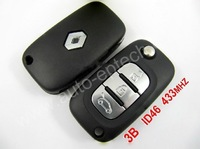 1pcs/lot Brand New uncut blade 3 Button Renault Remote flip Key 433Mhz,complete blank keys with electric ID46 transponder chip