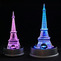 free shipping ,Brand New Unique Crystal Rotating 7 LED Light Jewelry /Display Base Stand+the Eiffel Tower