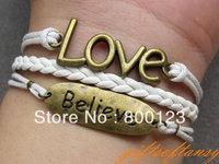 Believe in Love Bracelet - Antique Brass Believe Bracelet, Love Bracelet, White Braid & Wax Cord Bracelet- B267