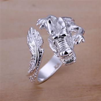 R054 Min order $15(Mix order) Free shipping silver filled Ring Dragon head Ring party Jewelry Min order(Mix order) $15(China (Mainland))
