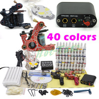 Complete Tattoo Kit 2 Top Machines 40 Color Inks Power Supply Needles free shipping
