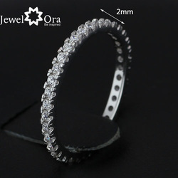 JewelOra Charm Party Round Cut Wedding Ring micro inlay Classic Rhodium Plated CZ Lady Eternity Ring #RI100755(China (Mainland))