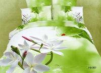 fresh green 3d bedding cotton home textile uniqe printed colorfast bedding linen 4pc bed sheet comforter set pillowcase