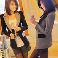 2013 spring color block decoration color block women's suit plus size blazer suit outerwear