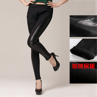 Women's patchwork PU faux leather plus velvet thickening slim hip personality legging boot cut jeans