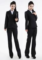 Buckle slanting stripe dark blue long-sleeve women's suits work wear formal