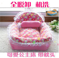 princess bed coral fleece autumn and winter pet nest dog bed ,with a pillow
