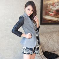 2013 spring women's patchwork leather slim suit jacket women's blazer