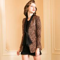 Jkv2013 fashion leopard print small suit jacket female slim print medium-long suit outerwear female