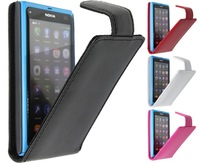 Real Cowhide Genuine Leather Luxury Flip Cover Case For Nokia lumia 800 New Arrival 4 colors Best Quality Cheapest Free Shipping