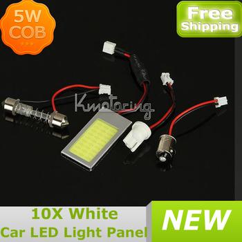 10X5W T10 BA9S COB Chip LED Dome Festoon Lamp White Light Panel Interior Adapter 12V,Factory Wholesael Car Led Panels Bulb