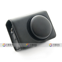 Black Leather Case Bag for SONY Cyber-shot DSC-H20 h55 h70 hx5v hx7v hx9v + Free shipping