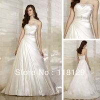2013 Modest  Sweetheart A-line Bride Gown  Chapel Train Sleeveless Satin Beaded Wedding Dress 1460