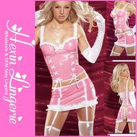 Wholesale Free Shipping Girls Fashion Pink PVC Leather Corset and Mini Skirt LB1062 Size S M L XL