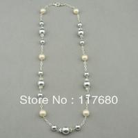 Fashion Jewelry Wholesale Women SD LA COCO Multicolors Pearls Silver Strand Necklace Free Shipping