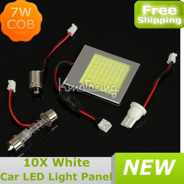 10X7W T10 BA9S COB Chip LED Dome Festoon Lamp White Light Panel Interior Adapter NEW,Wholesale Car Led Panels Bulb FREE SHIPPING(China (Mainland))