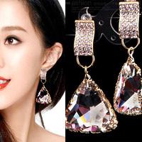 Free Shipping Fashion accessories sparkling trigonometric luxury crystal drop big stud earring earrings bride