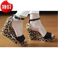 Free shipping, fashion star leopard print velvet wedges ultra high heels open toe women's shoes sandals female