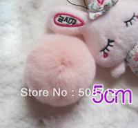Free shipping!!!! 50pcs 5cm high-quality light pink genuine rex rabbit fur ball fit Cell Phone Pendant key Chain or hair pom pom