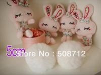 Free shipping!!!! 50pcs 5cm high-quality white genuine rex rabbit fur ball fit Cell Phone Pendant key Chain or hair pom pom
