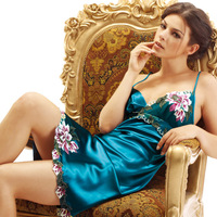 2061   hot selling silk sleepwear  for women  women's  silk  nightgown  ladies silk pajamas