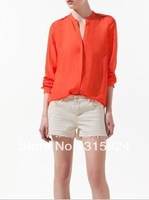 Free shipping summer new Solid 2 color Chiffon women's shirt