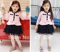 hot Ba Dress Girl's Beautiful Princess Cherry Dress long-sleeved spring autumn baby dress  free shipping!
