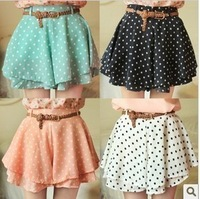 ]Free Shipping2013 Women's Fashion Chiffon Cute Waist Dress Short Hot Pants Elastic Dots Polka Waist Skirt 4 Colors