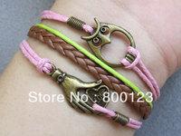 Harry Potter Bracelet - Antique Bronze Owl Bracelet, Brown Leather Braid Chain Bracelet, Inspired by Harry Potter-M174