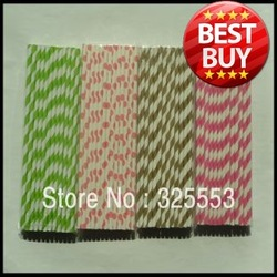 HOT ! 1000pcs assorted Paper Straws.Paper Drinking Straws for Earth Day(China (Mainland))