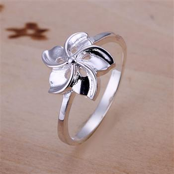 R130 Min order $15(Mix order) Free shipping Wholesale silver filled Ring Flower Ring Party Jewelry gift(China (Mainland))