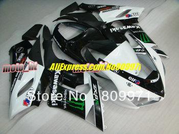 NEW DESIGN white black full Fairing for KAWASAKI Ninja ZX6R 636 2005 2006 ZX 6R 05 06 ZX-6R  05 06  2005 2006 body kit