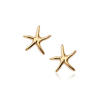 2014 high quality starfish earrings cheaper price brief stud earring accessories wholesales 18K gold plated  two colors