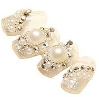2013 Hot new fashion woman nail decoration French 3D pearl diamond fake nails tips Bridal Nail patch Free Shipping