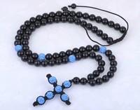 High Quality,Fashion Cross Shamballa Necklace Wholesale/Blue CZ Crystal Christian Cross Rosary,Black Beads Chain