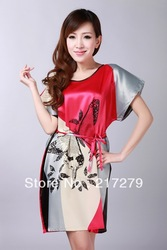 Free Shipping New Chinese Women's Gown Silk Clothing Dress & Robe & Gown #S0102-E01(China (Mainland))