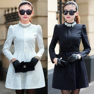 2013 spring women's small long-sleeve relief elegant ladies slim basic princess one-piece dress