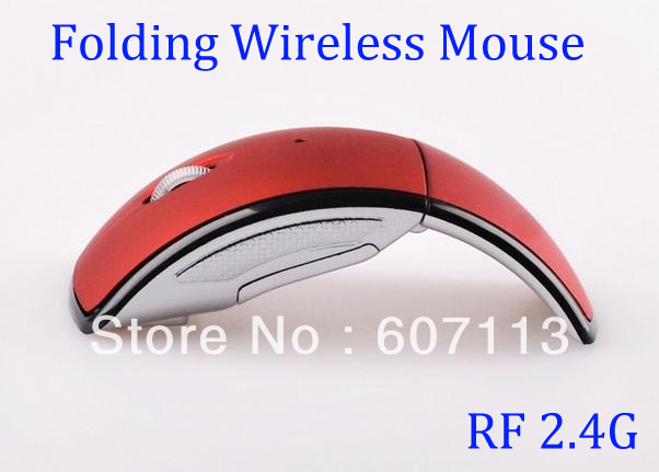 DHL free 100pc Folding Foldable 2.4G USB Wireless RF Optical Mouse Snap in Transceiver Red ray Cordless mice for Laptop Notebook(China (Mainland))