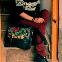 Genuine leather messenger bag national trend embroidery vintage women's briefcase handbag messenger bag