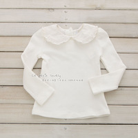 Baby girl's shirt  lace collar 100% cotton white long-sleeve all-match t-shirt basic shirt