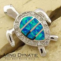 Pacific Blue Fire Opal Silver Sea Turtle Fashion  Jewelry Women & Men Pendant OP113L  Wholesale & Retail