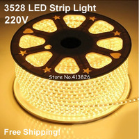 Free Shipping!10M/LOT 220V High voltage 3528 led flexible strip light+Power plug warm white 60leds/m,waterproof