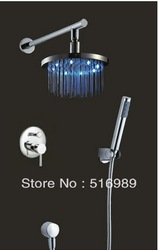 "8"" Round LED Shower Head Bathroom With Shower Hand Faucet Faucet Set SO-020(China (Mainland))"