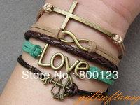 Retro cross bracelet, infinity bracelet,  anchor bracelet, multistrand leather bracelet with brass charms