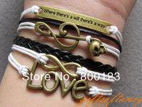 Multistrand jewelry - Musical Note & Skull , infinity , love copper words bracelet - M491