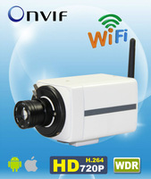 "H.264 Onvif Wilreless WDR 720P IP Fix Box Camera 1/3"" CMOS 6mm Lens Indoor AM-W722-WIFI"