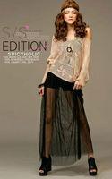 Wholesale new retro fashion ladies' Perspective sexy gauze skirt black one size  free shipping