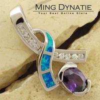 Purple Amethyst Pacific Blue Fire Opal Silver Fashion  Jewelry Women & Men Pendant OP207LA  Wholesale & Retail