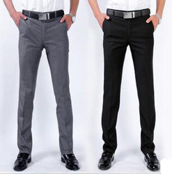 Men's Pant,Leisure Straight Canister, Trousers,Casual Pants Cotton Black Gray Size:28~38 Free Shipping+Gift MJ42(China (Mainland))
